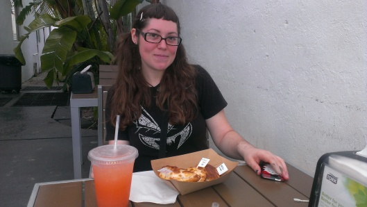 A plain Jane, enjoying some delicious nom noms with a friend before the trip.